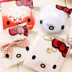 Pack of 10 Kawaii Hello Kitty Self-adhesive Cookie Cello Favor Treat Bags