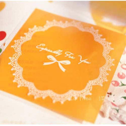 Pack of 10 Pretty Lace Doily Bow Patterned Orange Self-adhesive Cookie Cello Favor Treat Bags