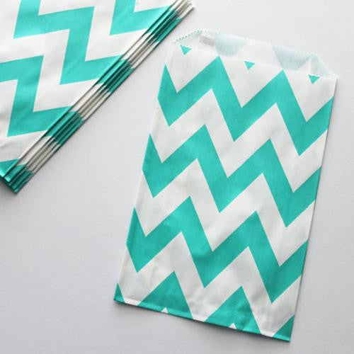 Pack of 12 Chevron Aqua Green/White Favor Treat Bags