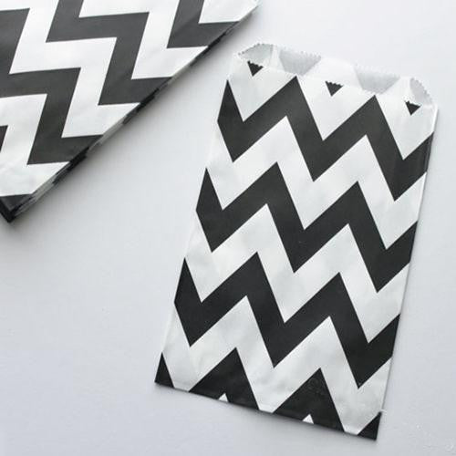 Pack of 12 Chevron Black/White Favor Treat Bags