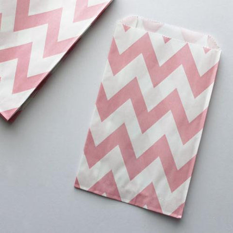 Pack of 12 Chevron Blush Pink/White Favor Treat Bags