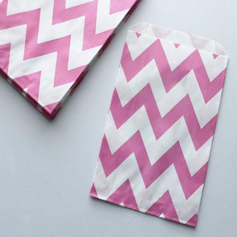 Pack of 12 Chevron Bubblegum Pink/White Favor Treat Bags
