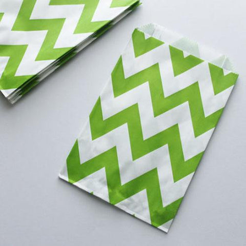 Pack of 12 Chevron Green/White Favor Treat Bags
