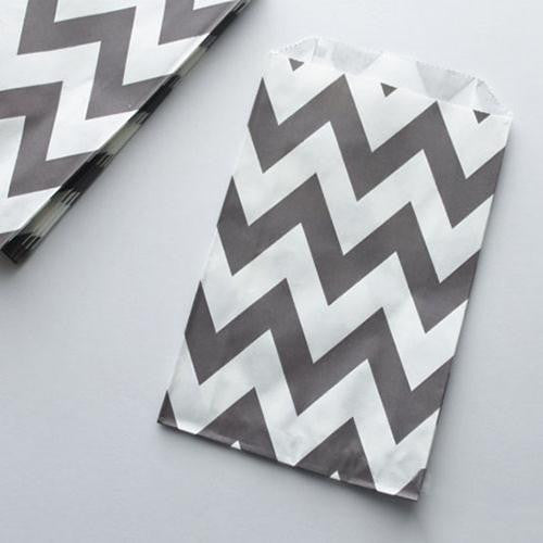 Pack of 12 Chevron Grey/White Favor Treat Bags