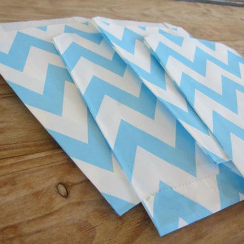 Pack of 12 Chevron Light Blue/White Favor Treat Bags