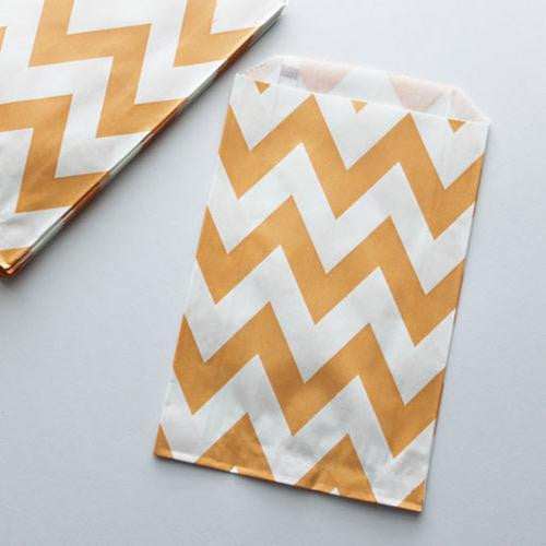 Pack of 12 Chevron Light Orange/White Favor Treat Bags