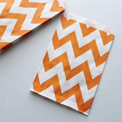 Pack of 12 Chevron Orange/White Favor Treat Bags