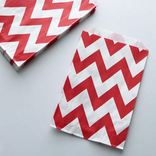 Pack of 12 Chevron Red/White Favor Treat Bags