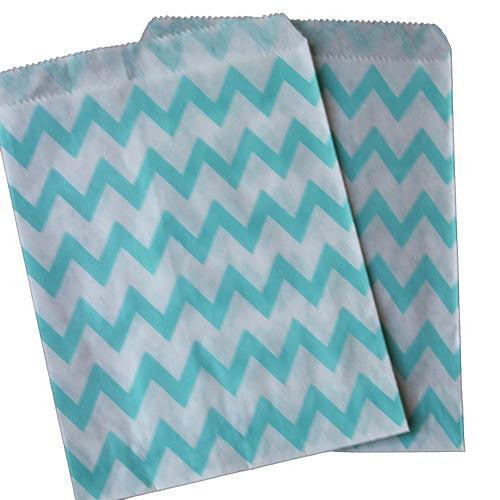 Pack of 25 Skinny Chevron Aqua Light Blue/White Favor Treat Bags