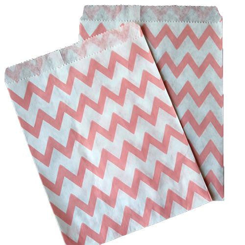 Pack of 25 Skinny Chevron Blush Pink/White Favor Treat Bags
