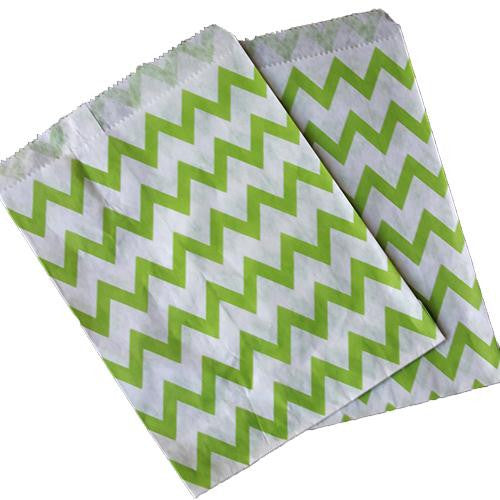 Pack of 25 Skinny Chevron Apple Green/White Favor Treat Bags