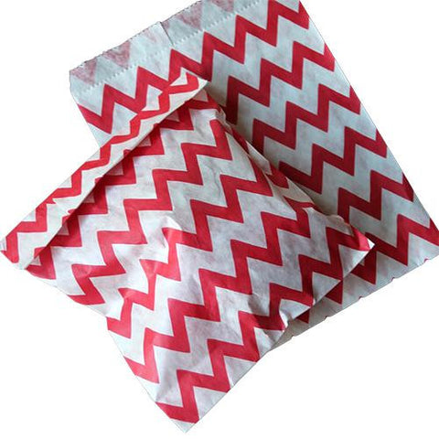 Pack of 25 Skinny Chevron Red/White Favor Treat Bags