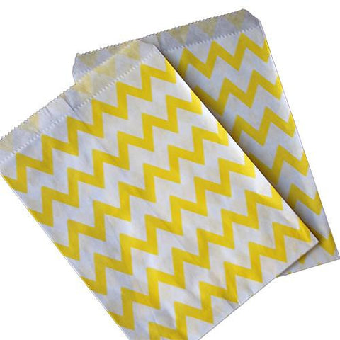 Pack of 25 Skinny Chevron Yellow/White Favor Treat Bags