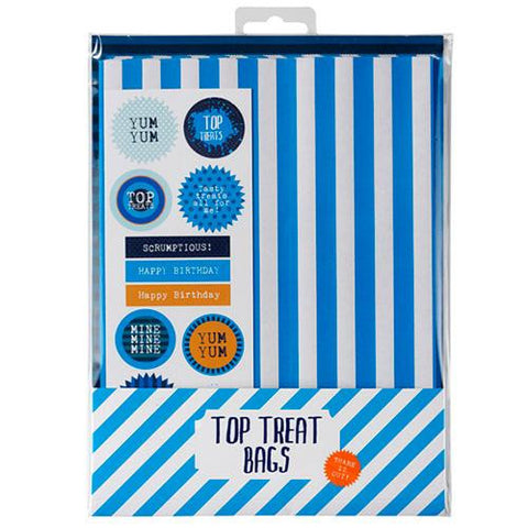 Cool Blue Retro Pack of 12 Favor Treat Bags