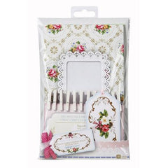 Frills & Frosting Shabby Chic Floral Pack of 12 Cookie Favor Treat Bags with Tags & Pegs
