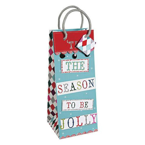 Stylish Christmas Tis the Season Wine Bottle Gift Packaging Bag with Silver Rope Handles