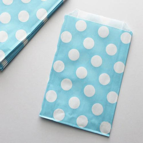 Pack of 12 Polka Dots Light Blue/White Favor Treat Bags