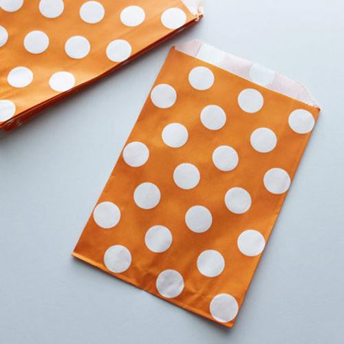 Pack of 12 Polka Dots Orange/White Favor Treat Bags