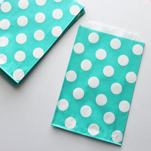 Pack of 12 Polka Dots Aqua Green/White Favor Treat Bags