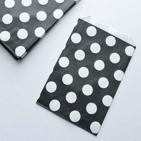 Pack of 12 Polka Dots Black/White Favor Treat Bags