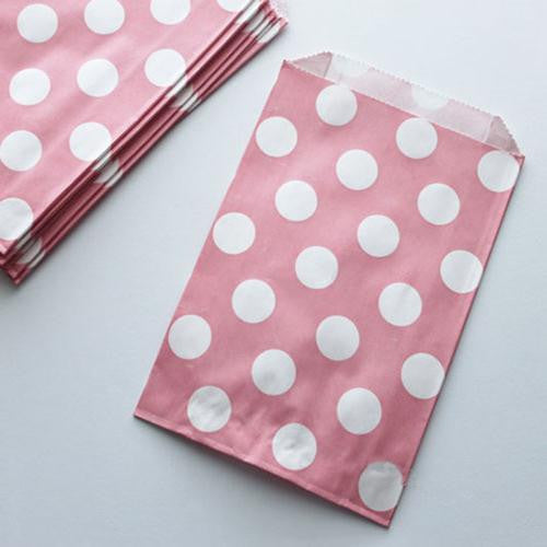 Pack of 12 Polka Dots Blush Pink/White Favor Treat Bags