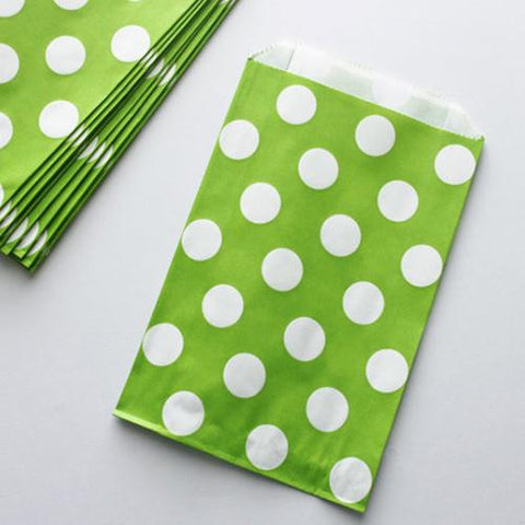 Pack of 12 Polka Dots Green/White Favor Treat Bags