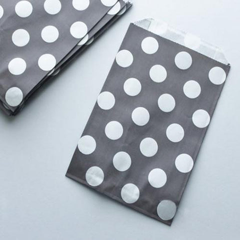 Pack of 12 Polka Dots Grey/White Favor Treat Bags