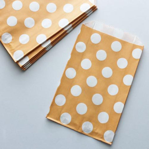 Pack of 12 Polka Dots Light Orange/White Favor Treat Bags