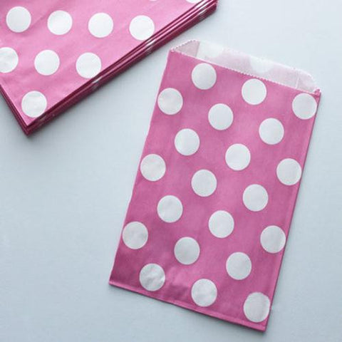 Pack of 12 Polka Dots Bubblegum Pink/White Favor Treat Bags