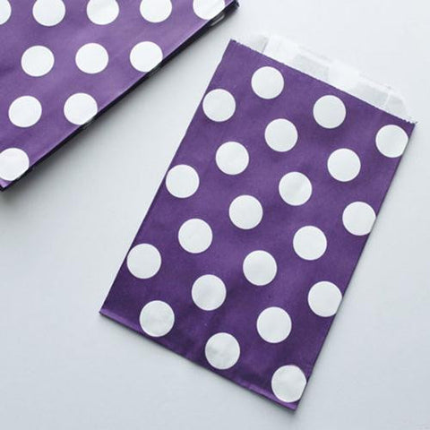 Pack of 12 Polka Dots Purple/White Favor Treat Bags