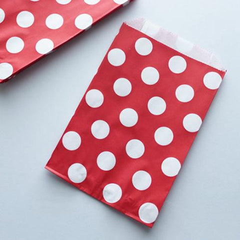 Pack of 12 Polka Dots Red/White Favor Treat Bags