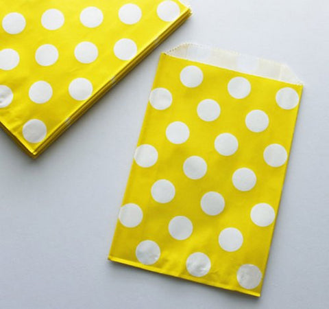 Pack of 12 Polka Dots Yellow/White Favor Treat Bags
