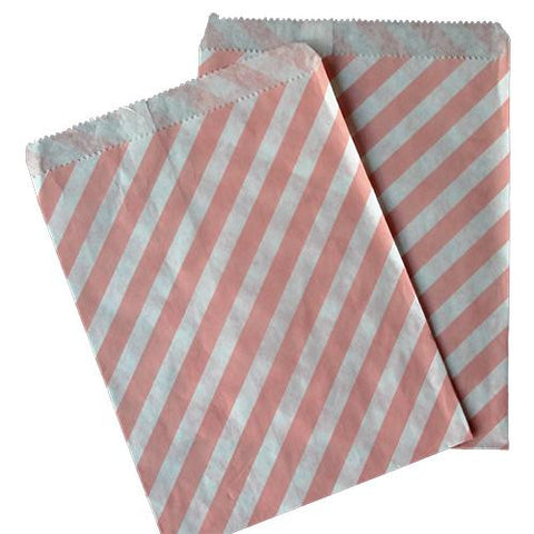 Pack of 25 Candy Stripes Blush Pink/White Favor Treat Bags