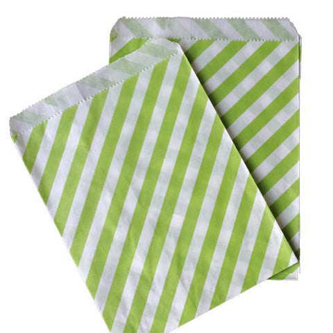 Pack of 25 Candy Stripes Apple Green/White Favor Treat Bags