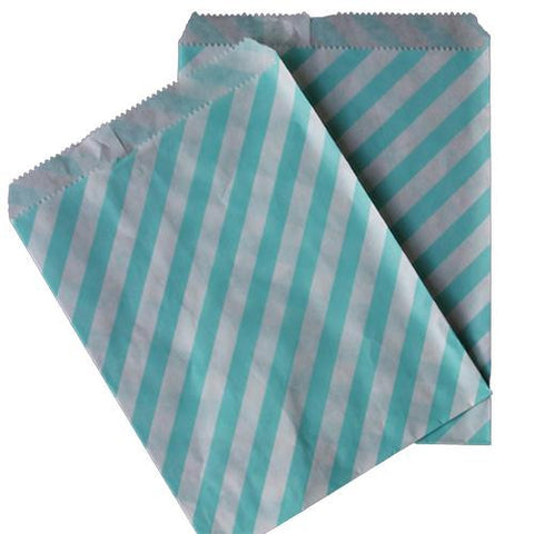 Pack of 25 Candy Stripes Light Blue/White Favor Treat Bags