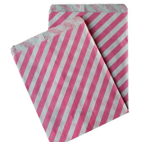 Pack of 25 Candy Stripes Bubblegum Pink/White Favor Treat Bags