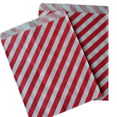 Pack of 25 Candy Stripes Red/White Favor Treat Bags