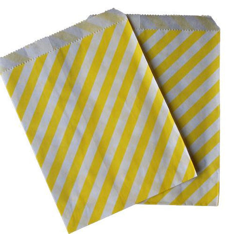 Pack of 25 Candy Stripes Yellow/White Favor Treat Bags