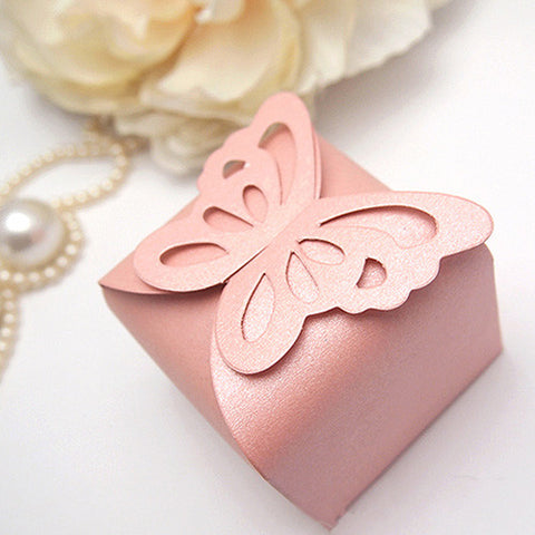 Pack of 10 Gorgeous Blush Pink Mini Laser-cut Butterfly Favor Boxes