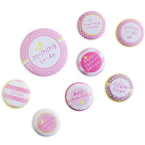 Pink n Mix Baby Shower Pack of 8 Super Cute Mini Badges for Mum-to-be & Friends