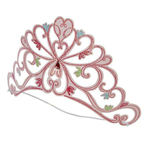 Little Ballet Dancer Set of 8 Gorgeous Pink Party Glitter Tiaras With Floral Patterns