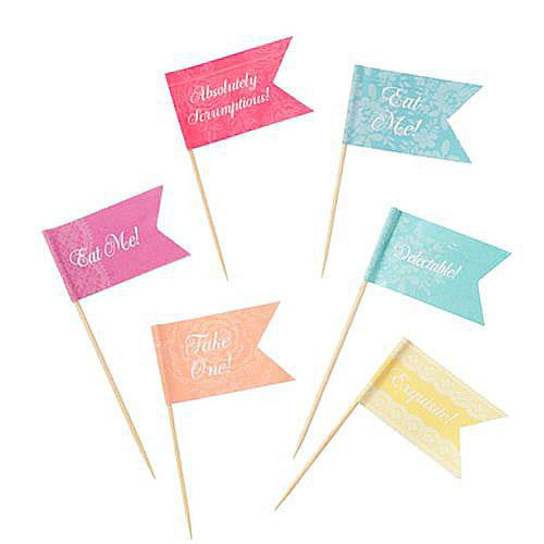 Truly Scrumptious Fun Pastels Pack of 24 Canapé Food Flags Picks