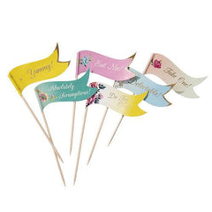 Truly Scrumptious Vintage Shabby Chic Floral Pack of 24 Canapé Food Flags Picks