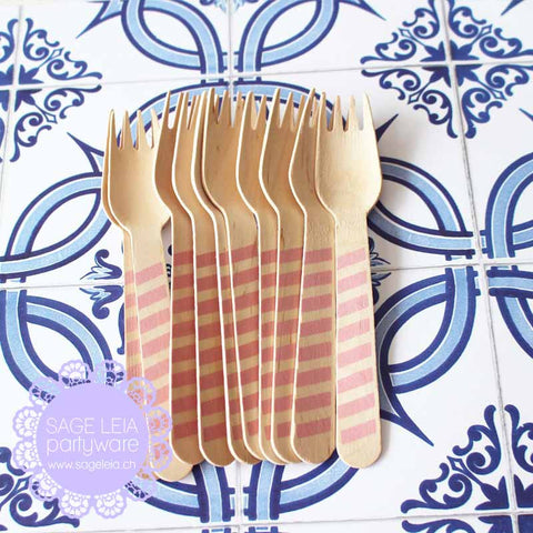 Set of 10 Diagonal Stripes Blush Pink Wooden Cutlery Forks