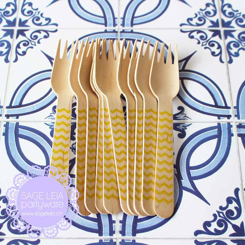 Set of 10 Chevron Yellow Wooden Cutlery Forks