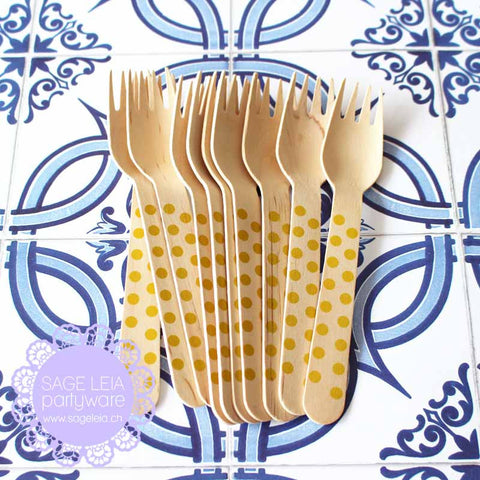 Set of 10 Polka Dots Yellow Wooden Cutlery Forks