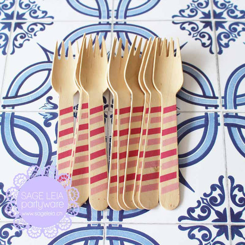 Set of 10 Diagonal Stripes Mixed Hot/Light Pink Wooden Cutlery Forks