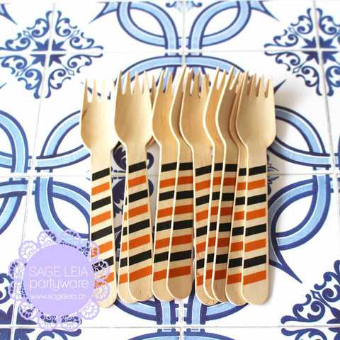 Set of 10 Diagonal Stripes Orange/Black Wooden Cutlery Forks