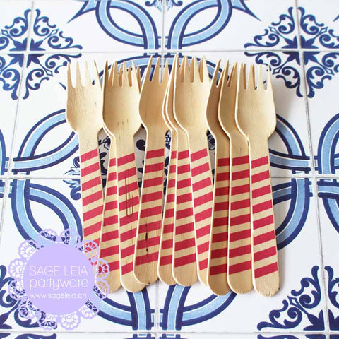 Set of 10 Diagonal Stripes Hot Pink Wooden Cutlery Forks