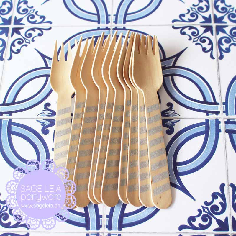 Set of 10 Diagonal Stripes Silver Grey Wooden Cutlery Forks